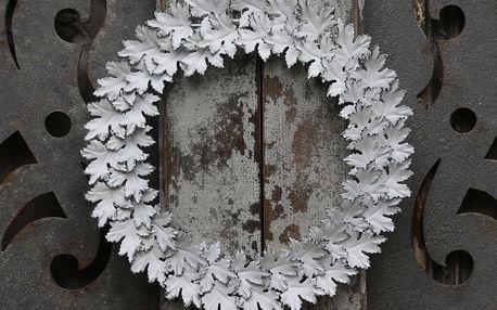 Chic Antique Zinkový věnec Ivy leaves 30 cm, bílá barva, zinek