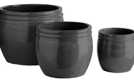 Tine K Home Keramický květník Vietnam Phantom - 3 druhy Velikost L, šedá barva, černá barva, keramika