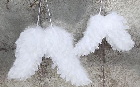 Chic Antique Andělská křídla white - větší 26cm, bílá barva, textil
