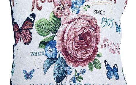 BO-MA Trading Povlak na polštářek Gobelín Rose garden, 45 x 45 cm