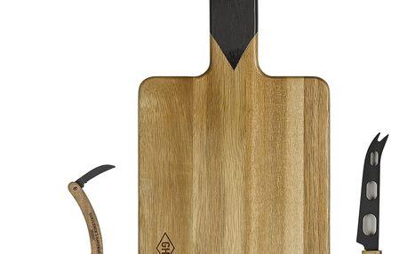 GENTLEMEN'S HARDWARE Sada prkénka, vývrtky a nože Cheese & Wine, černá barva, hnědá barva, přírodní barva, dřevo, kov
