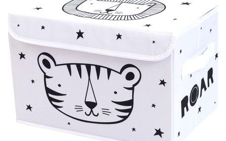 A Little Lovely Company Úložný box Roar, černá barva, bílá barva, textil