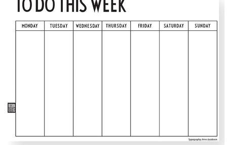 DESIGN LETTERS Trhací týdenní plánovací kalendář To Do This Week, černá barva, bílá barva, papír