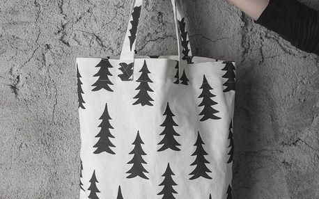 Fine Little Day Plátěná taška Gran Black, černá barva, bílá barva, textil