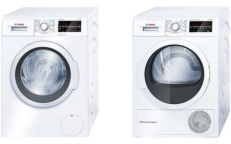 Set (Sušička prádla Bosch WTW85460BY) + (Automatická pračka Bosch WAT24460BY) + DOPRAVA ZDARMA