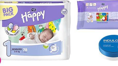 2x BELLA HAPPY Newborn 1 pleny (2-5 kg) 78 ks + Indulona Tělový krém 75 ml + Happy Wipes 24 ks