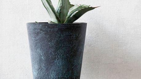 House Doctor Kovový obal na květináč Marble effect, černá barva, kov
