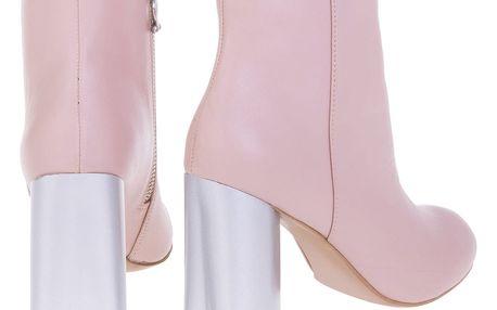 Fornarina pudrové boty na podpatku Vic-Black Patent Pu Wo´s Ankle Boot