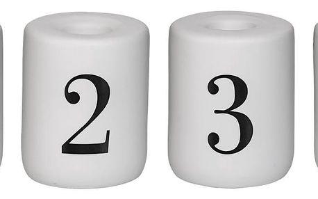 Bloomingville Porcelánový adventní svícen Black&White - set 4 ks, černá barva, bílá barva, porcelán