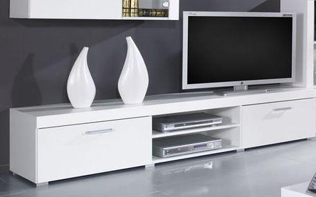 Samba - TV skříň (bílá mat - korpus / bílá lesk - fronty)