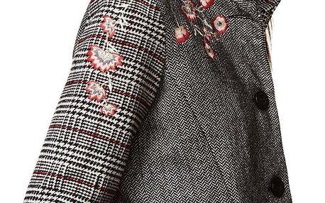 Desigual podzimní kabát Melan s výšivkami