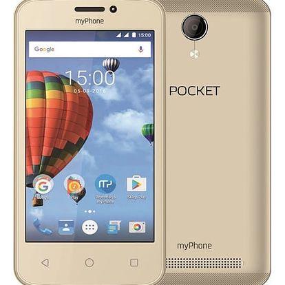 Mobilní telefon myPhone POCKET (TELMYAPOCKETGO) zlatý Software F-Secure SAFE, 3 zařízení / 6 měsíců v hodnotě 979 Kč