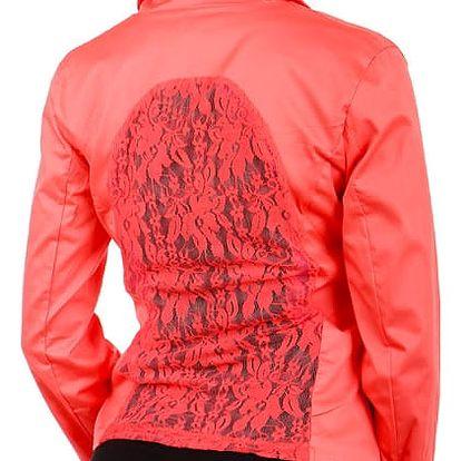 Dámské sako s krajkou korálová