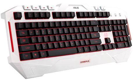 Klávesnice Asus Cerberus Gaming, CZ/SK (90YH00V1-B2CA00) bílá + Doprava zdarma