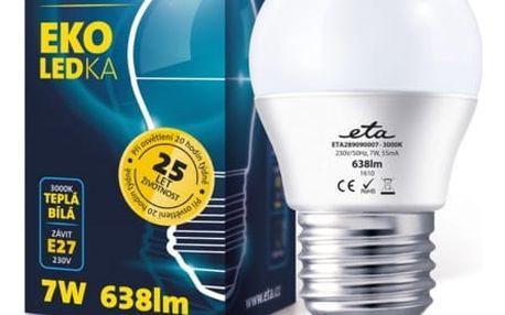 Žárovka LED ETA EKO LEDka mini globe, 7W, E27, teplá bílá (G45-PR-470-16A)