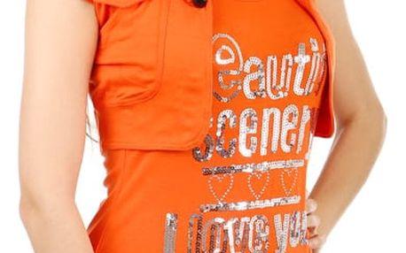 Moderní bolerko s krátkým rukávem oranžová