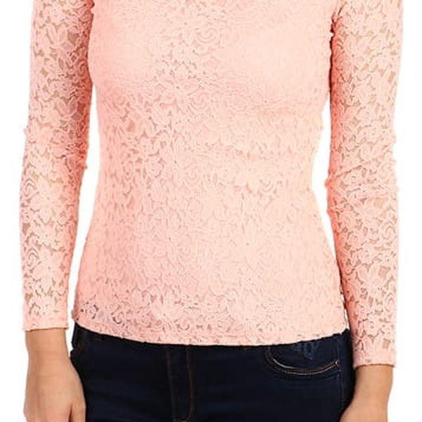 Dámské romantické krajkové tričko světle růžová