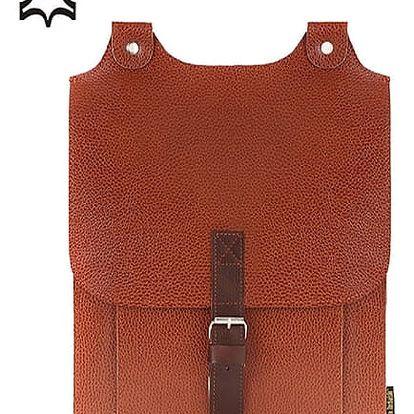 Velký kožený batoh s přezkou zrzavá