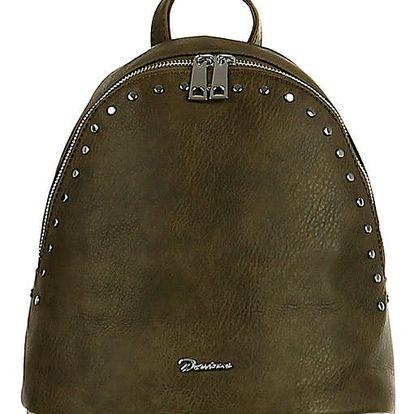 Malý koženkový batoh s cvočky tmavě zelená