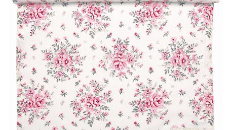 GREEN GATE Bavlněný běhoun Flora white 45x140 cm, růžová barva, bílá barva, textil