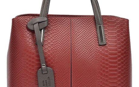Červená kožená kabelka Roberta M Cecilio - doprava zdarma!