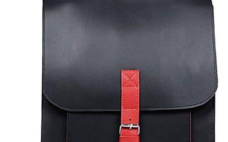 Velký kožený batoh s přezkou černá/červená