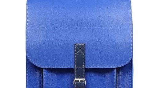 Velký kožený batoh s přezkou modrá