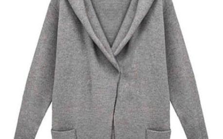 Maxi kabátek Angela - šedá barva - velikost 5XL - dodání do 2 dnů