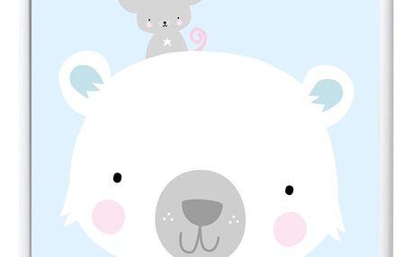 A Little Lovely Company Dětský plakát Polar bear & co. 50x70 cm, modrá barva, papír (slevový kód JEZISEK24 na -24 %)