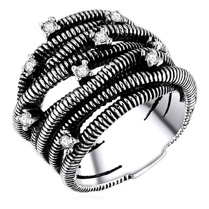 Dámský prsten stříbrné barvy Runaway Metrix, 58