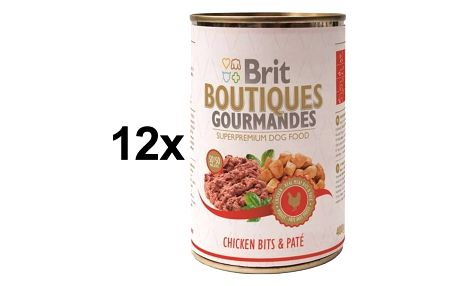 Konzerva Brit Boutiques Gourmandes Chicken Bits&Paté 12 x 400g