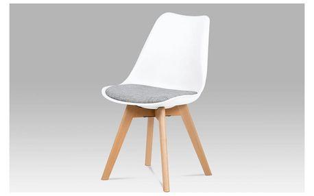 Jídelní židle bílý plast / šedá tkanina / natural Autronic