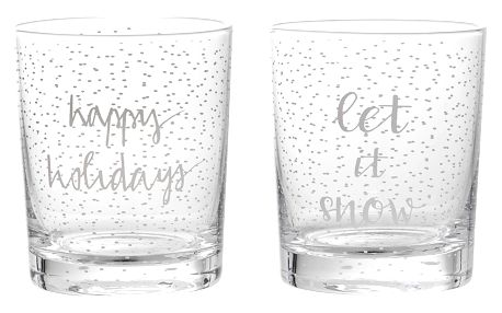 Bloomingville Skleněný svícen Noel clear Happy Holidays, čirá barva, sklo