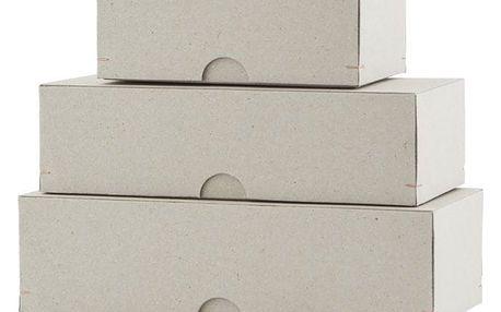 MONOGRAPH Papírové krabičky Cardboard - set 3 ks, šedá barva, papír