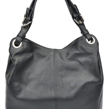 Černá kožená kabelka Carla Ferreri Irene - doprava zdarma!