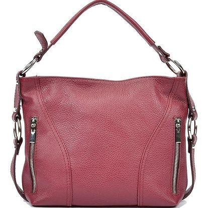 Červená kožená kabelka Carla Ferreri Rose - doprava zdarma!