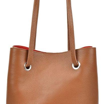 Koňakově hnedá kožená kabelka Mangotti Well - doprava zdarma!