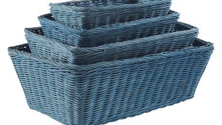 Sada 4 modrých ratanových košíků Compactor Saga