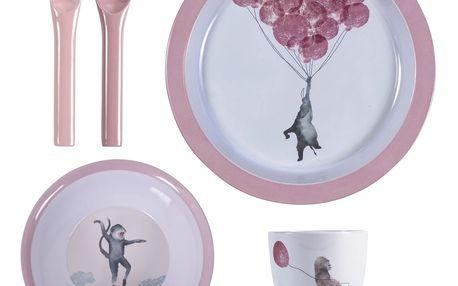 Dětský jídelní set Sebra In The Sky Vintage Rose