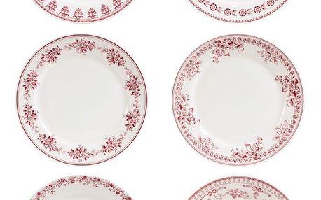Sada 6 červenobílý dezertních talířů Comptoir de Famille Faustine, 20 cm - doprava zdarma!