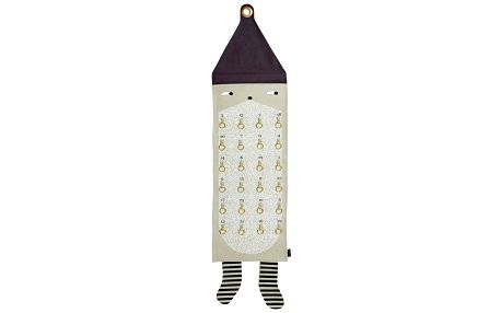 OYOY Textilní adventní kalendář Santa 123cm, béžová barva, černá barva, textil