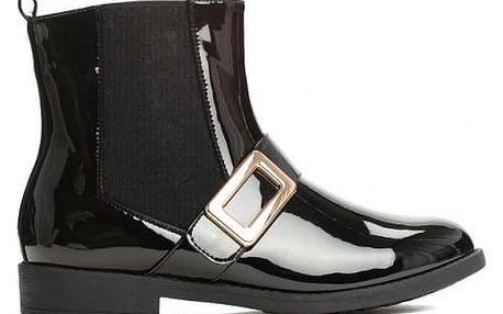 Dámské černé lesklé kotníkové boty Devyn 059