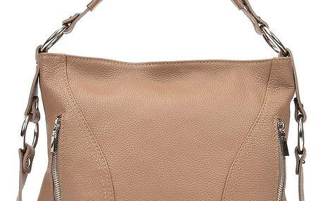 Béžová kožená kabelka Carla Ferreri Rose - doprava zdarma!
