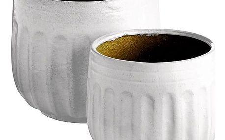 Tine K Home Keramický květináč Grooves White L - 2 druhy Větší velikost, bílá barva, keramika