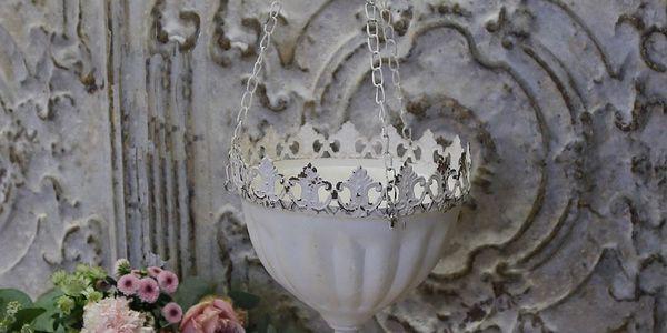 Chic Antique Závěsný květník Lace Antique white, bílá barva, kov