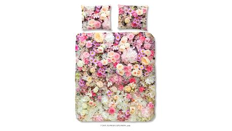Růžové bavlněné povlečení na jednolůžko Muller Textiels Explosion, 140 x 200 cm