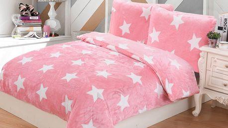 Jahu Povlečení mikroplyš Stars růžová, 140 x 200 cm, 70 x 90 cm