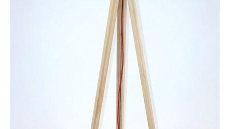 Stojací lampa s černým stínítkem a červeným kabelem Ragaba Wanda - doprava zdarma!
