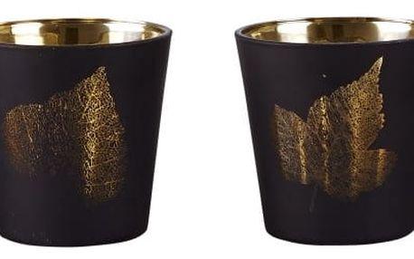 Sada 4 skleněných svícnů KJ Collection Black With Gold