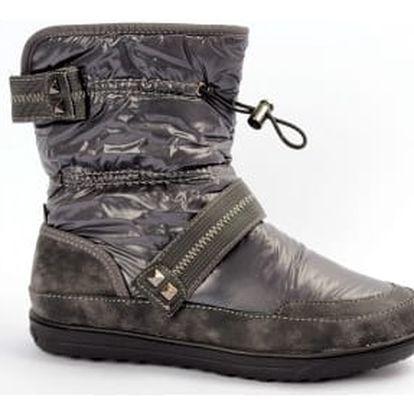 Moderní zateplené boty kovově šedé